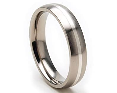 5mm comfort fit titanium rings mens rings titanium wedding rings - Wedding Rings Amazon
