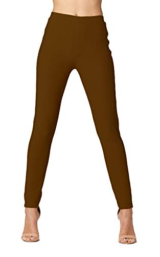 Premium Women's Stretch Ponte Pants - Dressy Leggings with Butt Lift - Mocha Brown - Large/X-Large ()