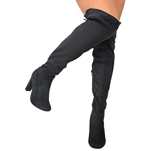 Premier Boot Over Dark Knee Grey High Z Sexy Stretch Trendy Thigh Standard Women's Heel Pullon Shoe Heel Premier High The Comfortable Boot BnwHZUPxq