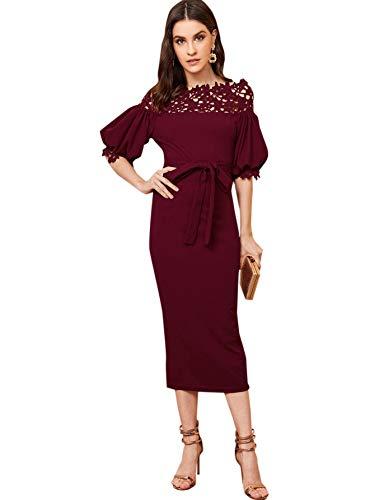 Verdusa Women's Guipure Lace Off Shoulder Belted Bodycon Pencil Dress Burgundy L