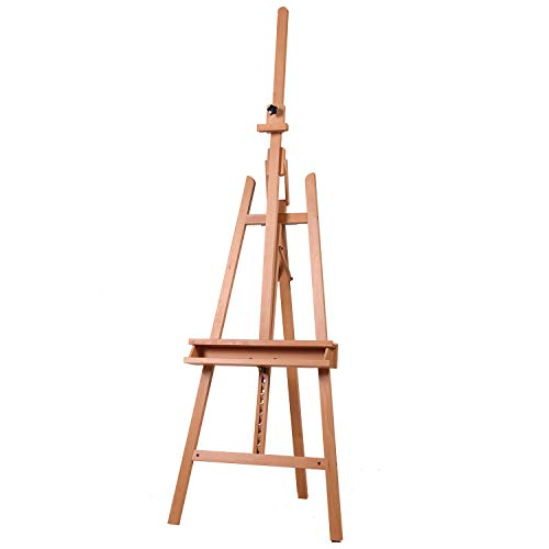 ATWORTH Large Painters Easel Adjustable Beech Wood Artist Easel, Studio Easel for Adults with Brush Holder, Holds Canvas up to 48