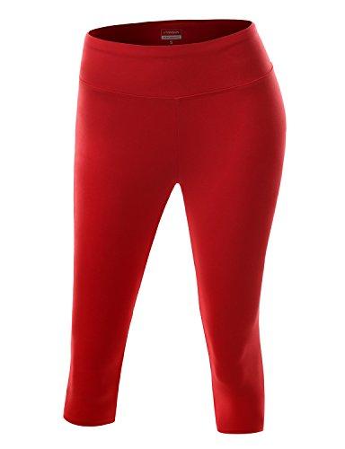 Plus Size Active Workout Athletic Running Yoga Capri Leggings RED 2XL