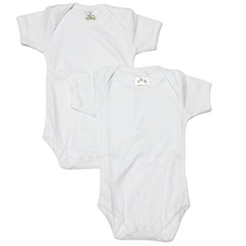 Carlino 2-pack Extra Soft Envelope Neck Baby Onesies (0-3 Months (11-15lbs), White) by CARLINO