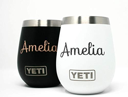 Custom Yeti Wine Glass Tumbler, 10 Oz, Yeti Wine Tumbler, Personalized Wine Glass Tumbler with Monogram Vinly, Wedding Tumbler, Wedding Gift, Bridal Gift, Bridesmaid Gift, Wedding Accessories