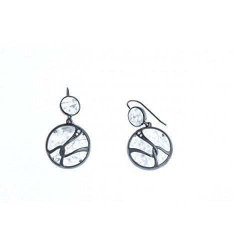 Fant'zi - Boucles d'oreille argent rhodié - quartz cristal - zircons