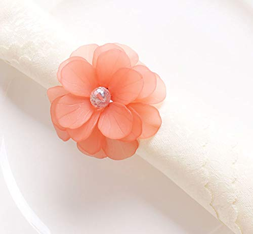 Coral Napkin Ring - Fennco Styles Unique Translucent Petals Acrylic Flower Napkin Rings - Set of 4 (Coral)