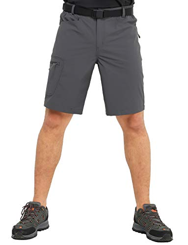MIER Men's Stretchy Hiking Shorts Quick Dry Nylon Cargo Shorts with 5 Pockets, Water Resistant, Lightweight, Graphite Grey, ()