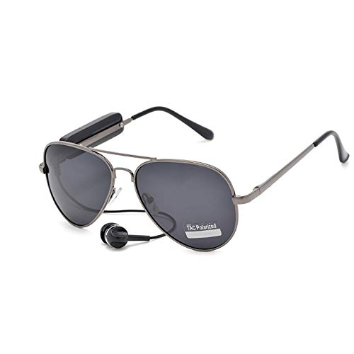 Bluetooth glasses Polarized sunglasses Stereo music Bluetooth retro aviator glasses driving glasses (208-Black)