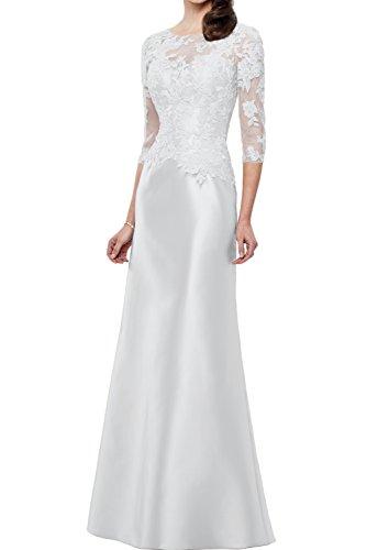 Brautmutterkleider Etui Neu Traum Weiß Satin Bodenlang Abendkleider 2017 Partykleider Spitze Ivydressing A6qTT