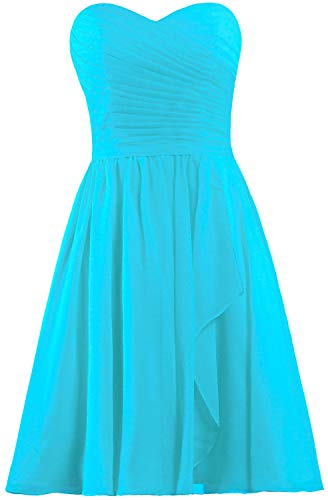 (ANTS Women's Sweetheart Short Bridesmaid Dresses Chiffon Wedding Party Dress Size 18W US Turquoise)