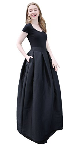 Satin Mini Pleated Skirt - Irenwedding Women's High Waist Basic Hand Pockets Stretchy Pleated Skirt Midi Skirt Long Black XL