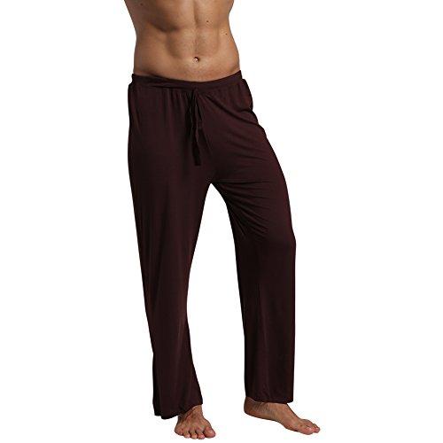 Pajama Trousers (EU Men's Yoga Pants Lounge Trousers Pajama Long Pant Soft Modal Cotton with Pockets Coffee Medium)