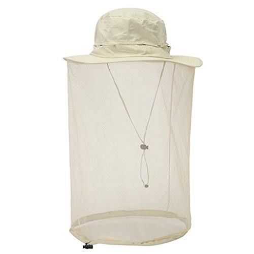 HiGOGO Men Women Mosquito Head Net Hat,Insect Repellent Netting,Outdoor Anti-Mosquito Mask Hat with Head Net Mesh Face Protection (Beige)