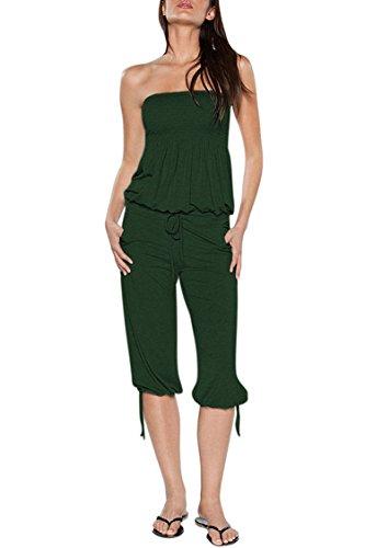 (Selowin Women Strapless Open Back Beach One Piece Capri Jumpsuit Playsuit Dark Green)