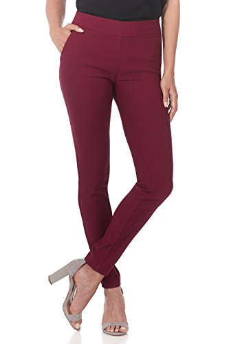 Rekucci Women's Ease into Comfort Modern Stretch Skinny Pant with Tummy Control (12,Burgundy) (Maroon Women Dress Pants)