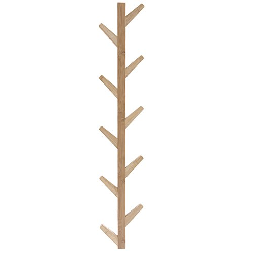 Bamboo Wood Tree (Wall-Mounted Bamboo Wood Tree Branch Design 10-Hook Hat and Coat Rack, Beige)