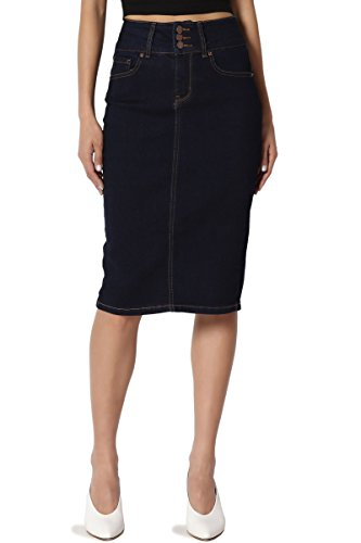 Denim Zip Fly Skirt - TheMogan Women's Butt Lift Indigo Pencil Knee Midi Stretch Denim Skirt Dark S