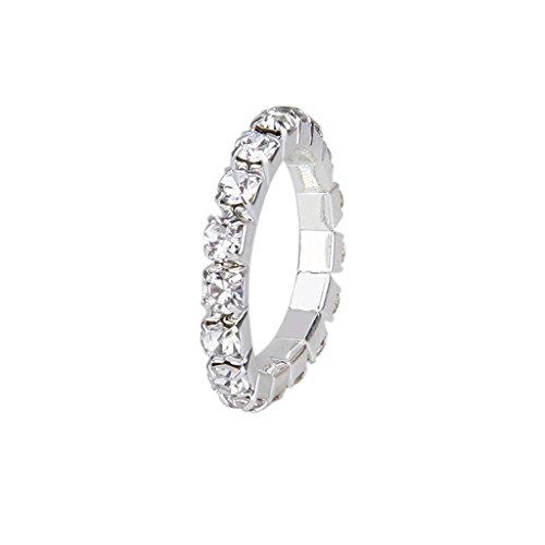 3mm Elastic Silver Tone Single Row Rhinestone Toe Ring Bridal Jewelry