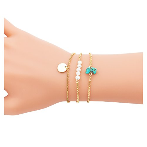Boosic Multi layer Bracelet Turqouise Pearl Disc Charm Multi Strand Bracelet Dainty Jewelry