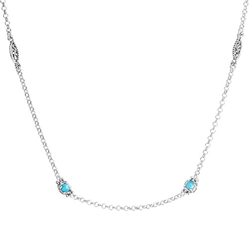Carolyn Pollack Simply Fabulous Sterling Silver & Gemstone 15 Inch Necklace (Turquoise)