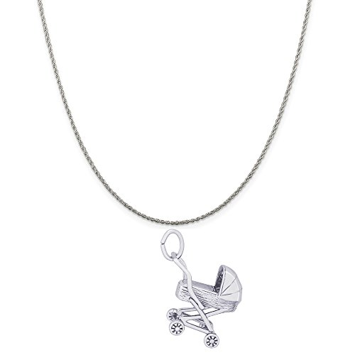 Rembrandt Charms 14K White Gold Baby Carriage Charm on a 14K White Gold Rope Chain Necklace, 16