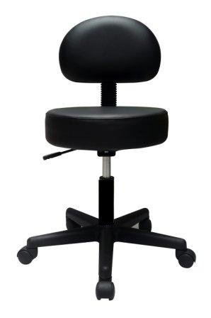 Pneumatic Rolling Adjustable Stool with Removable Backrest (Black)