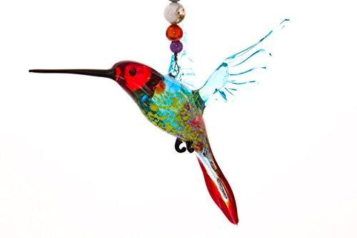 Hummingbird Suncatcher Glass Yard Ornament with Crystal Butt