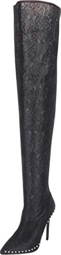 Cambridge Select Women's Thigh-High Pointed Toe Floral Lace Studded Stiletto High Heel Over The Knee Boot,7 B(M) ()