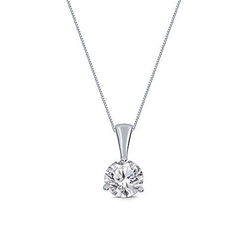 La Joya Round White Simulated CZ Diamond Sterling Silver Solitaire Pendant Stud Earring (Pendant, 2.00)