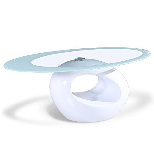 SUNCOO Coffee End Side Table with Shelves Living Room Furniture Oval Shape Tempered Clear Glass Top Gloss (Oval Shape Glass)