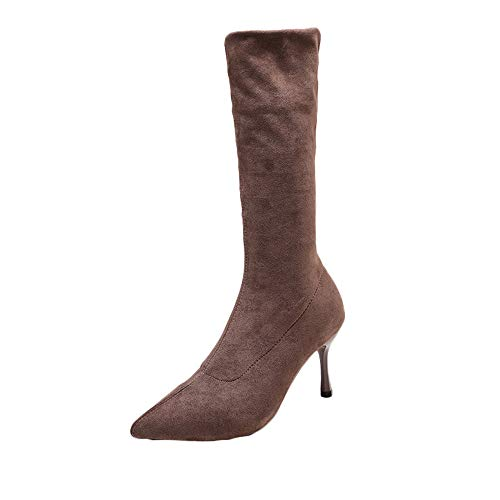 (for Shoes,AIMTOPPY Women's Scuffed Suede Elastic Stiletto Heel High Tube Warm Boot)