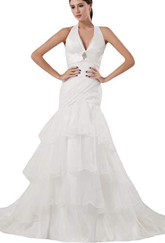 JOYNO BRIDE Halter Organza Ruffle Court Train Tiered Mermaid Wedding Dress(16,White)