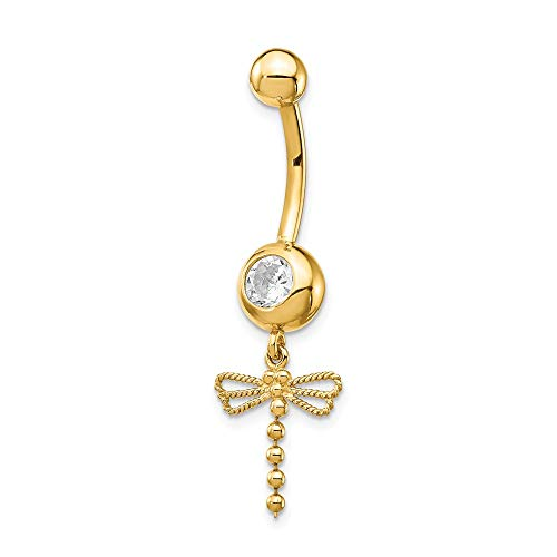 14k Yellow Gold Cubic Zirconia Cz Dragonfly Dangle Belly Band Ring Body Naval Fine Jewelry Gifts For Women For Her