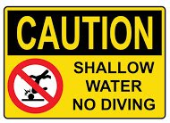 Caution Shallow Water No Diving Sticker Caution Shallow Water