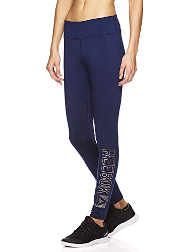 Reebok Women's Fleece Lined Leggings - Cold Weather Workout Running & Gym Athletic Tights Full Length Performance Compression Pants - Pop Nouveau Medieval Blue, Small