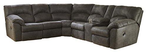 - Ashley Furniture Signature Design - Tambo 2-Piece Sectional - Left Arm Reclining Loveseat with Right Arm Reclining Loveseat - Pewter Gray
