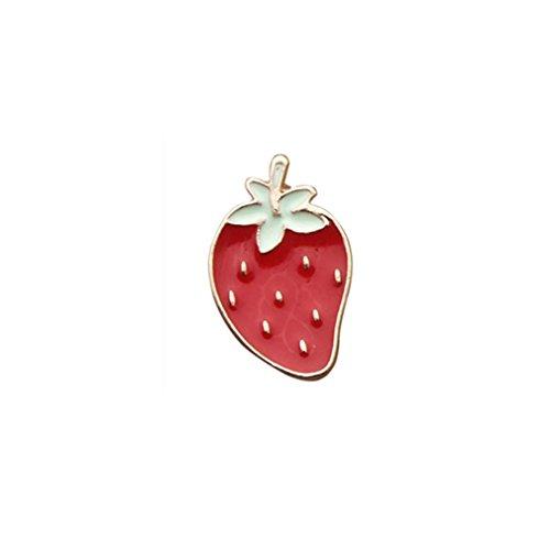 MJARTORIA Novelty Cartoon Enamel Strawberry Brooch Pin for Women and Girls