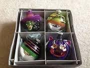 Christopher Radko SHINY BRITE HALLOWEEN Witch Black Cat and Glitter Ball Ornament Set of 4 ()