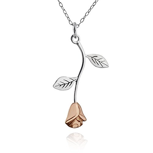 Silver 20mm Rose Leaf Pendants - Sterling Silver Flat Hanging Stem Rose Pendant Necklace with 18K Rose Gold Plated Petals, 18