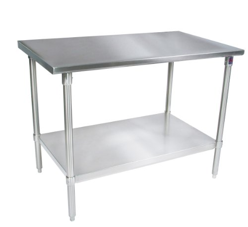 John Boos ST6-3072GSK Stainless Steel Stallion Work Table with Lower Shelf, Adjustable Galvanized Legs, Flat Top, 72'' Length x 30'' Width by John Boos