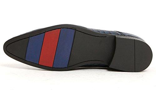 SERDAOMANI Mens Vogue Alligator Skin Point Toe Formal Oxford Leather Shoes Blue LVPS2Ku