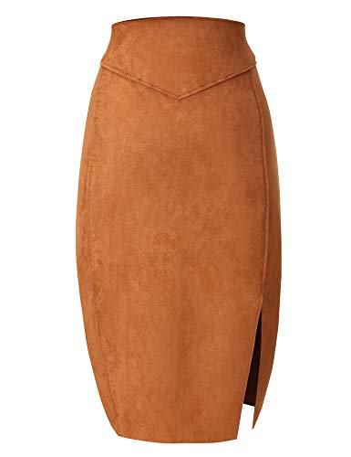 Bellivera Women's Faux Suede Pencil Skirt Hip Wrapped Back Split for Spring (Fur Pencil Skirt)