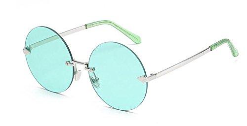 métallique retro Vert Transparent en lunettes inspirées cercle Film vintage soleil du de polarisées rond Lennon style wwaxFHPq