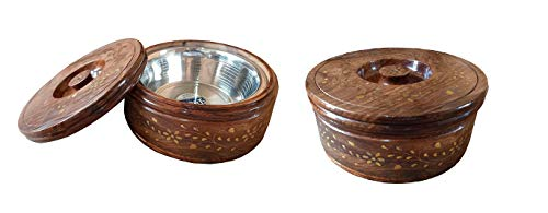 TAYYABA ENTERPRISES Sheesham Wooden Stainless Steel Included Casserole  Set of 2 PCs, Pair  Classic Look Chapati Boxes