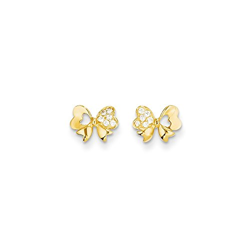 ICE CARATS 14k Yellow Gold Cubic Zirconia Cz Bow Post Stud Earrings Fine Jewelry Gift Set For Women Heart by ICE CARATS (Image #4)