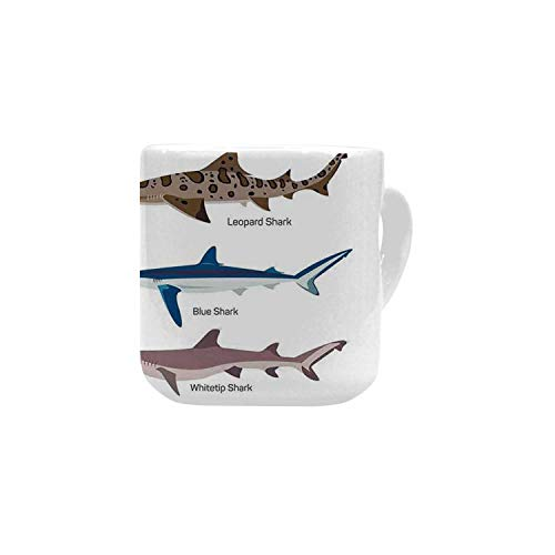- Sea Animal Decor White Heart Shaped Mug,Collection Types of Sharks Bronze Whaler and Piked Dogfish Fox Maritime Design for Home,2.56