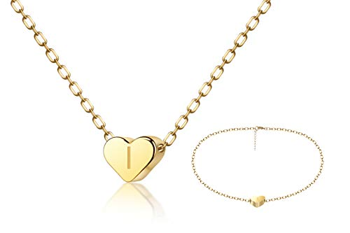 FYBLYCOO Initial I Necklace Anklet for Women - Tiny 14K Gold Filled Love Heart Charm Pendant Letter Necklace for Daughter Kids Mom Best Jewelry Gifts ()
