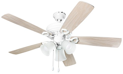 Hyperikon Indoor Ceiling Fan with Pull Chain, 42-inch Light Wood White Ceiling Fan - White Fixture with Five Maple Blades and Three Lights - Bulb Not Included (Ceiling Fan With 3 Lights)