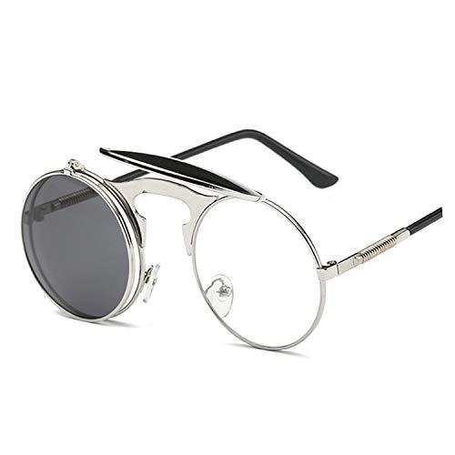 Vintage Sunglasses Women Round Metal Frames punk Men Retro Eyewear UV400,rose Gold Gray,as ()