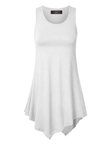 Made By Johnny WT671 Womens Handkerchief Hem Tank Tunic Top XXL White ()